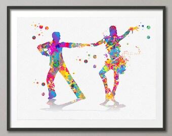 Salsa Dance Watercolor Print couple dancing salsa giclee print, Salseros bailando salsa Painting, Dance School illustration [N143]