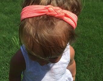 Neon coral striped celtic knot headband