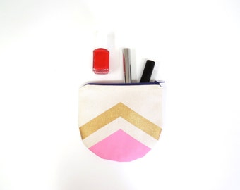 Small organic zippered pouch with lining. Geometric design organic cotton coin purse. Natural canvas. Hand painted gold and pink.