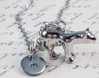 Polar bear necklace, bear necklace, personalized necklace, initial necklace, friend necklace, gift for her, bear charm necklace