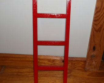 2 Foot Wood Red Ladder Decor