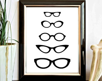 Instant Download - Black Eyeglasses Printable Wall Decor - Spectacle Frames Wall Art - Office - Digital Artwork