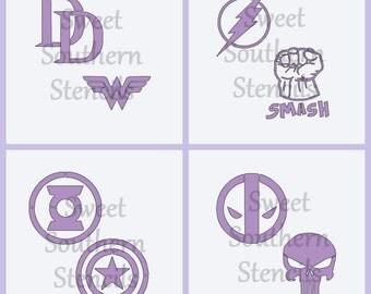 Heroes and Antiheroes Logos  (4 separate stencils)