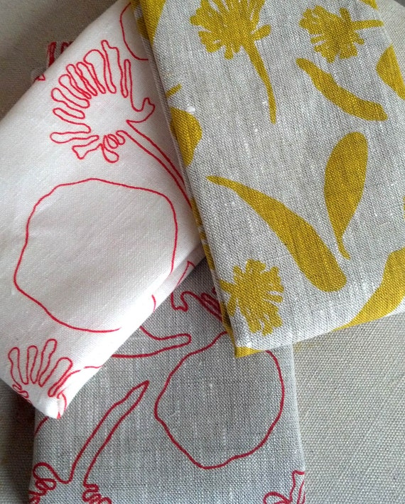 100% Linen Hand Printed Tea Towel/Kitchen Towel By