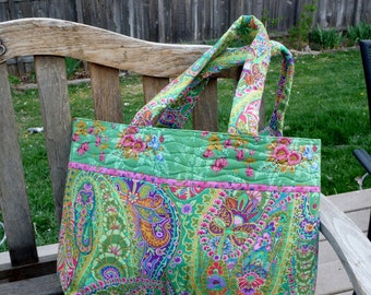 Green and Pink Paisley Quilted Tote