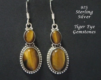 Silver Earrings 045: Sterling Silver Earrings with Tiger Eye Gemstones in Stunning Drop Earrings | Silver Earrings, Silver Dangle Earrings