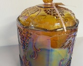 1970's Indiana Florigold Carnival Glass Biscuit Jar
