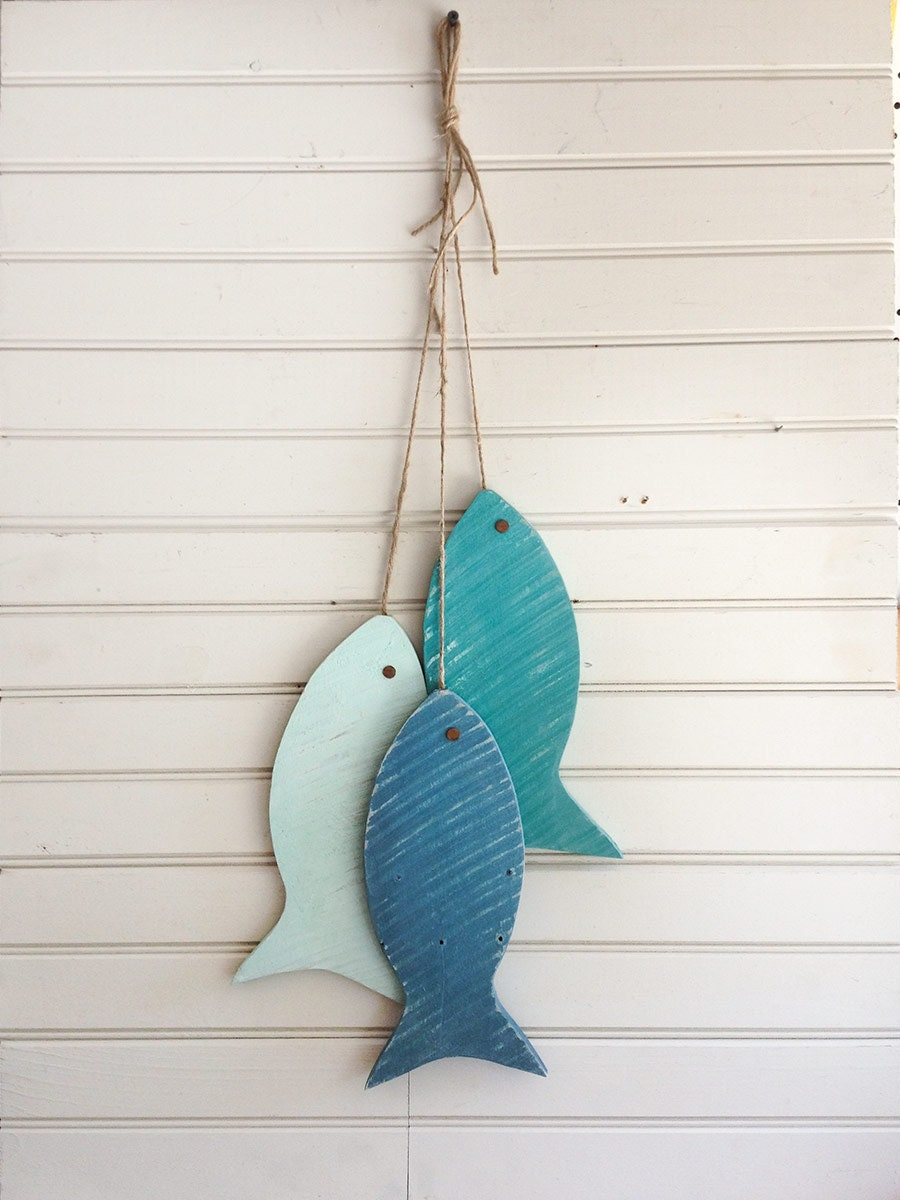 Fish Wall Decor Wood : Painted string of wooden fish wall decor made with repurposed
