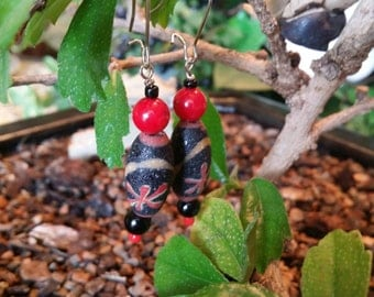 Black and Red Beaded Dangles