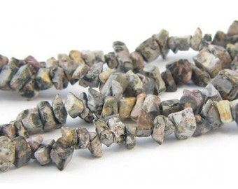 Wire chips beads Jasper leopard - 90cm wire