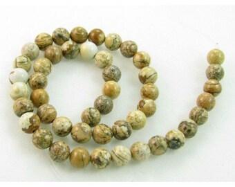 48 round beads wire 8mm 8 mm Jasper landscape