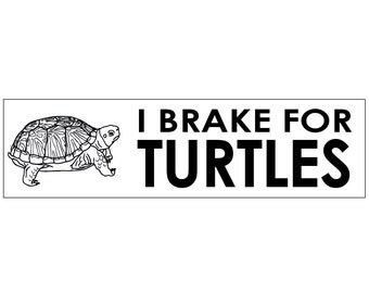 I Brake for Turtles Decal Vinyl or Magnet Bumper Sticker