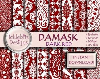 """Dark Red Damask Digital Paper Pack, """"DARK RED DAMASK"""" For Scrapbooking,high resolution, damask digital paper, lace digital paper, Design #49"""