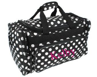 Monogram Black Polka Dot Duffle Bag