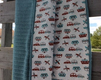 Crocheted and lined baby blanket, boy blanket, baby bedding, ready to ship, car blanket, blue crocheted, baby bedding, baby shower, quilt