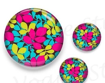 Fuchsia Lime Blue Leaves Glass Round Cabochon 1 x 25mm / 2 x 12mm