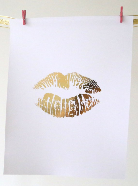 Wall Art Gold Lips : Real gold foil print lips art wall makeup