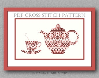Lace kettle and cup PDF cross stitch pattern / instant download