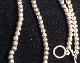 Vintage mexico 925 sterling silver bead necklace