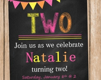 Sunshine Chalkboard Birthday Invitation