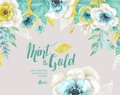 Mint & Gold. Watercolor floral Bouquets and arrangement Clipart. Hand painted flowers, wedding diy, flowers, invite, glitter, christmas