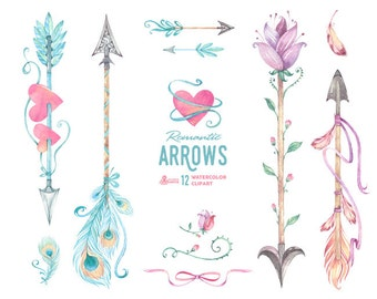 Romantic Arrows Watercolor Clipart. 12 Hand painted elements, feathers, valentine, diy floral, flowers, invite, tribal, pink, boho, hearts
