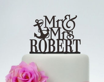 Wedding Cake Topper,Anchor Cake Topper,Mr and Mrs Cake Topper With Last Name,Unique Cake Topper,Acrylic Cake Topper,Wedding Decoration C082