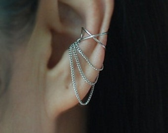 Cross X ear cuff with 3 Chains ,No Piercing Cartilage Ear Cuff, Ear Jacket, Ear Wrap