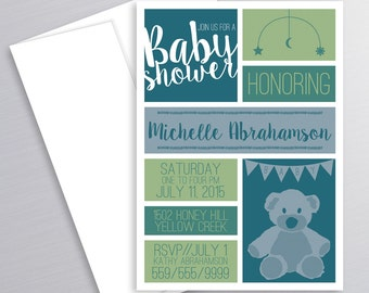 Teddy Bear, Baby Shower, Invitation, Teddy Bear Shower, Baby Shower Invite, Printable, Baby Boy Shower, Teddy Bear Invite, Teddy Bear Theme