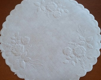 """Beautiful Round 6"""" Rose embossed linen textured  doilies- 10, 20 or 50 Pieces"""