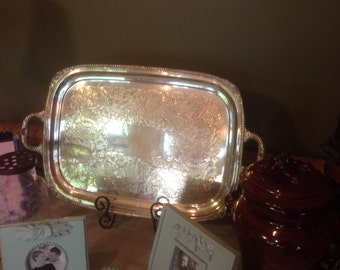 Antique Large Wallace Heavy Silver Plated Serving Tray With Handles, Farmhouse Kitchen Decor.