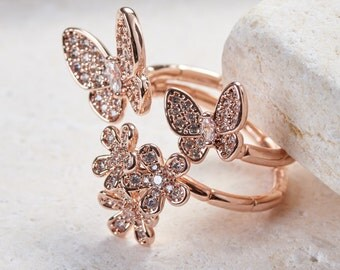 Garden Butterfly Ring - White gold/ Rose gold/ Yellow gold plated dainty