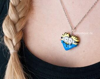 Minion Heart Necklace (I - despicable, despicable me)