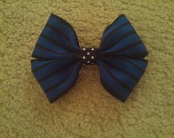 Small Blue & Black Striped Hair Bow