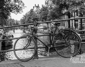 Amsterdam Bike on Bridge over Canal - Netherlands - Black And White Photography - Home Wall Decor Fine Art Print