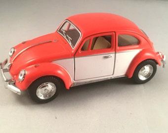 1967 Volkswagen Beetle Classic metal model car in Deep orange color! Lovely collectible item!