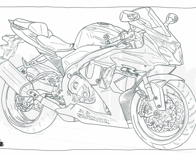 Adult Colouring Page - Motorcycle Illustration - Motorcycle Coloring - Suzuki GSXR1000