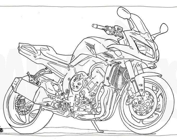 Adult Colouring Page - Motorcycle Illustration - Motorcycle Coloring - Yamaha FZ-1S