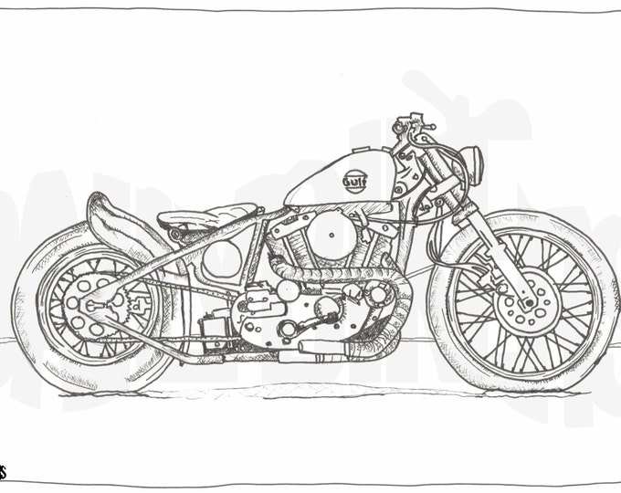 Adult Colouring Page - Motorcycle Illustration - Motorcycle Coloring - Harley Bobber