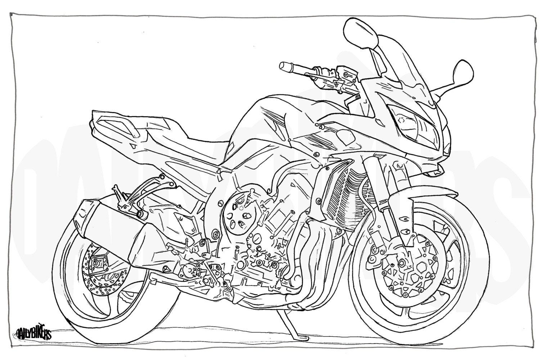 Coloration adulte page moto illustration coloriage moto - Moto a colorier ...