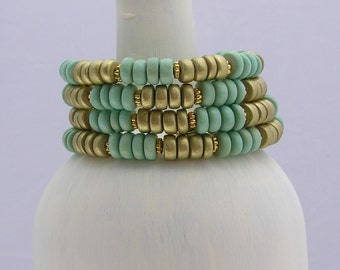 Green and Gold Memory Wire Bracelet