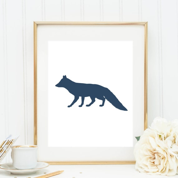Fox Art Navy Blue Fox Print Home Decor By Jettyprintables On Etsy