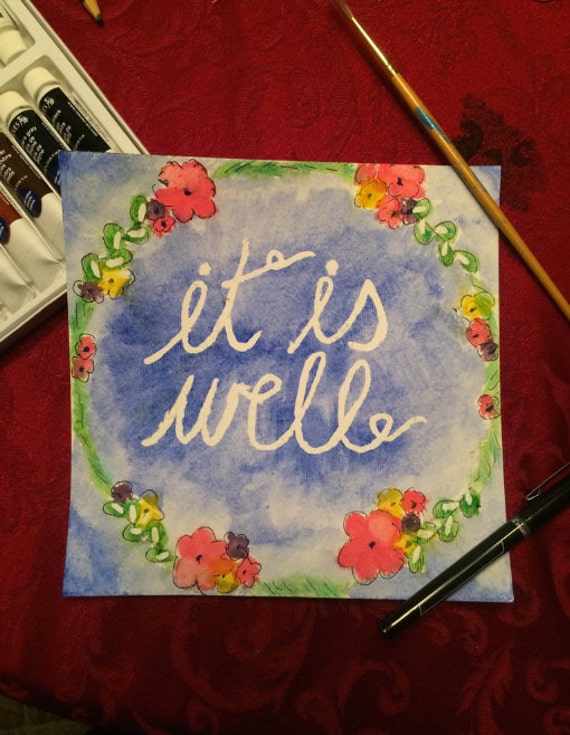 It Is Well - Hymn/Song Lyric - Watercolor print