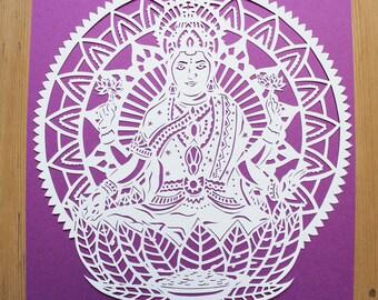 Papercut Template Lakshmi Diwali Laxmi Goddess of Wealth Hindu PERSONAL USE