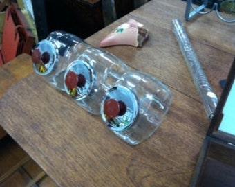 Vintage Glass Counter Display Jars with lids - set of 3