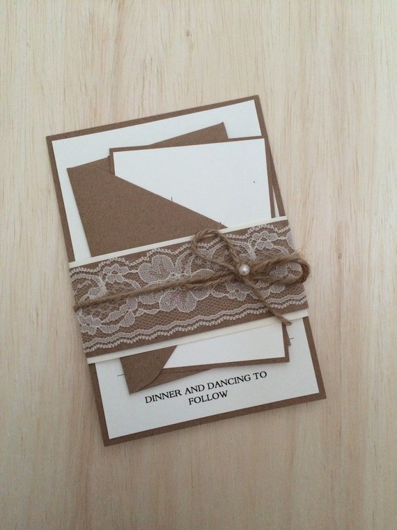 Rustic wedding invitation, rustic lace wedding invitation, belly band invitation, twine invitation with pearl, country invitation