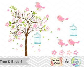 Digital Tree and Birds Clip Art Digital Pink Green Blossom Tree Clipart Pink Birds Clipart  Wedding Invitation Valentines Clipart 0143