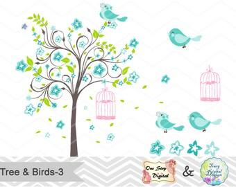 Digital Tree and Birds Clip Art Digital Teal Green Blossom Tree Clipart Blue Birds Clipart Wedding Invitation Valentines Clipart 0144