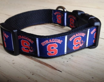 1 Inch Wide Custom Made Adjustable Syracuse Grosgrain Dog Collar