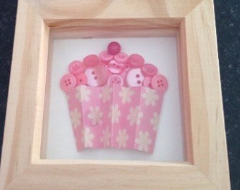 Framed Mini pink button cupcake